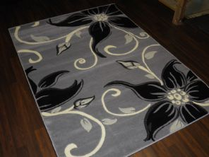 Modern 7x5ft 150x210cm Woven Backed Lily Rug Top Quality Grey/Black BARGAINS